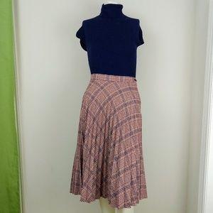 Vintage 70s Union Label Pleated Plaid Midi Skirt
